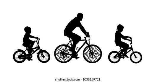 Fathers day, happy family people vector silhouette illustration isolated on white background. Father with son and daughter riding bicycle. Dad with children driving bike. Little boy and girl outdoor.
