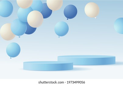 Fathers day holiday design template. Festive background with blue and white flying balloon and empty blue round podium. Vector stock illustration.