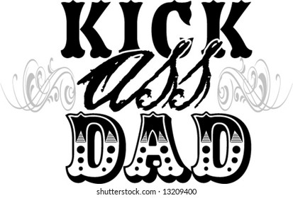 fathers day kick ass dad vector