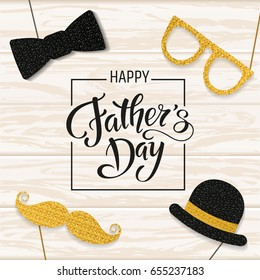 Father's Day lettering. Props for photos with glitter texture. Summer holidays. Vector illustration EPS10.