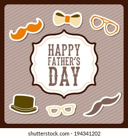 Fathers day over brown background, vector illustration