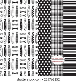 Fathers day pattern. Neckties and bow ties, polka dot, plaid and stripe print. Black and white. Preppy, classic, masculine patterns for backgrounds, gift wrap, scrapbook paper, cards and more.