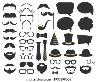 Fathers day photo booth props. Photo booth speech bubble, moustaches, glasses and beard props. Happy fathers day photo props decorations vector illustration set