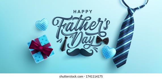 Vatertag Poster oder Banner-Vorlage mit Krawatte und Geschenkbox auf blauem Hintergrund.Grüße und Geschenke für Vatertag in flachem Lay-Stil.Promotion und Shopping-Vorlage für Liebesdad