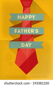 Father's Day Poster with Big Tie. Flat Design. Retro Style. Vector Illustration.