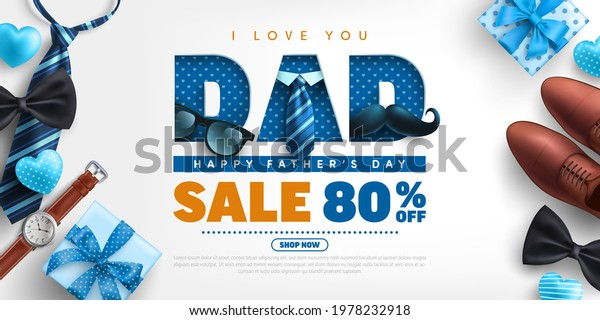 Father's Day Sale poster or banner template with necktie,glasses and gift box on blue.Greetings and presents for Father's Day in flat lay styling.Promotion and shopping template for love dad concept.