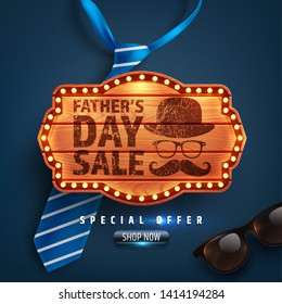 Father's Day Sale Special offer with vintage wooden board,blue necktie and glasses.Promotion and shopping template for Father's Day.Vector illustration EPS10