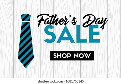 Father's day sale vector banner with necktie. Shop now. Web promotional template