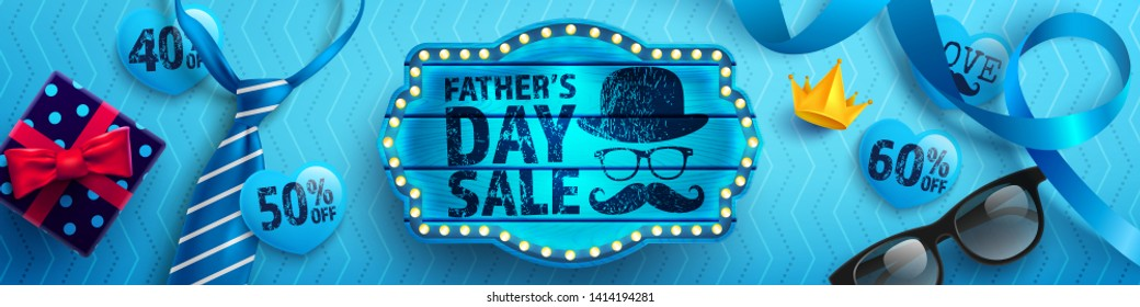 Father's Day Sale with vintage blue wooden board,blue necktie,glasses and gift box on blue background.Promotion and shopping template for Father's Day.Vector illustration EPS10