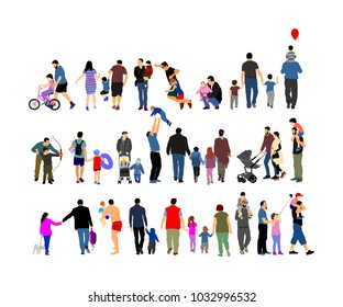 Fathers day set, group of family people vector illustration isolated on white background. Father with son.  Father and daughter. Family values.  Little boy and girl with dad. Happy birthday concept.