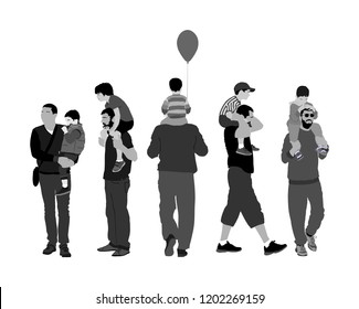 Fathers day set, group of family people vector illustration isolated on white background. Father and son.  Father carrying his son on shoulders, dad carrying little boy with balloon.