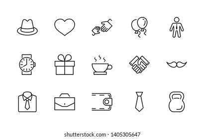 Father's Day Set Line Vector Free Icon. Contains such Icons as Mustache, tie, shirt, handshake, diplomat, hat, coffee, purse, gift, portfolio and more. Editable Stroke. 32x32 Pixel Perfect