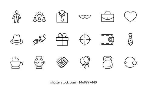 Father's Day Set Line Vector Icons. Contains such Icons as Mustache, tie, shirt, handshake, diplomat, hat, coffee, purse, gift, portfolio and more. Editable Stroke. 32x32 Pixel Perfect