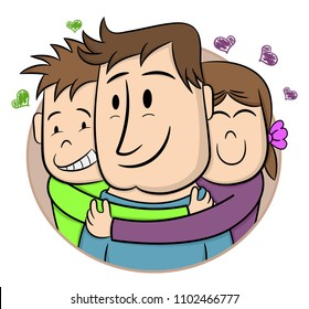 Father's Day. Smiling Children Hugging Their Father. Cartoon vector illustration. Hand drawn style greeting card for father's day. Cute little boy and girl. Sticker, Logo, card, banner, poster.