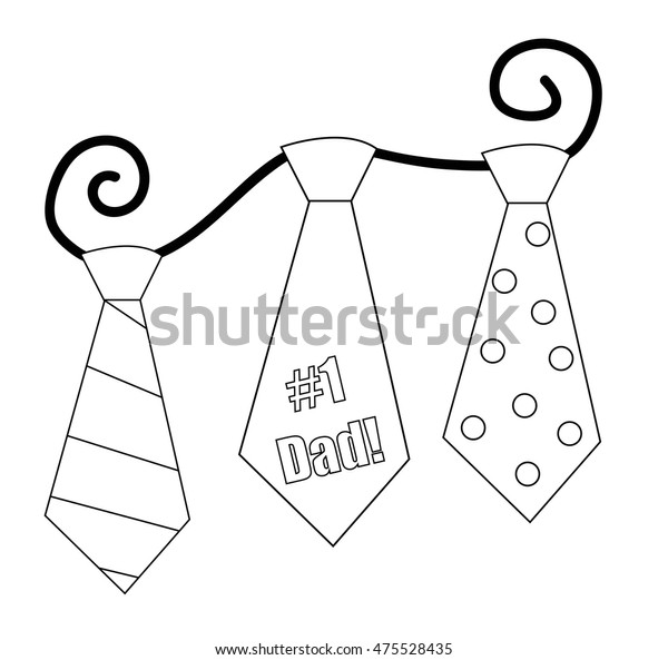 Fathers Day Ties Coloring Page Stock Vector (Royalty Free ...