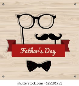 Father's Day vector greeting card. Man's accessories on wood background.