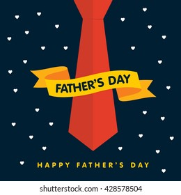 Father's day Yellow 3d ribbon around Blue tie. Happy Father's Day Night star backtround