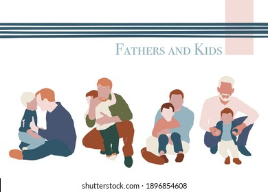 Fathers and kids abstract vector set. Father and baby. Fathers day cards