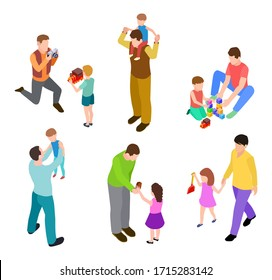 Fathers and kids. Isometric joint activity of dads and children. Vector men and kids playing
