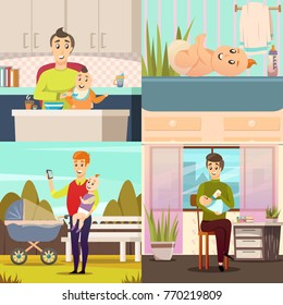 Fathers on parental leave 4 orthogonal icons square with baby feeding playing outdoor walks isolated vector illustration