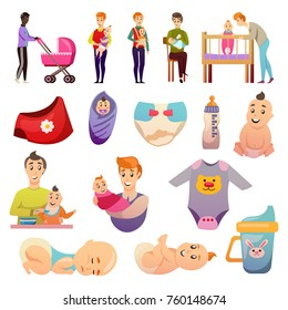 Fathers on parental leave orthogonal icons set with feeding carrying baby and newborn accessories isolated vector illustration