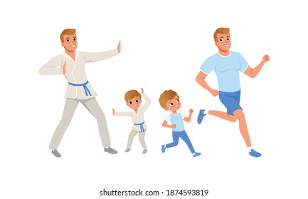Fathers and their Sons Doing Sports Together, Cheerful Man and Boy Practicing Martial Arts and Jogging Cartoon Vector Illustration