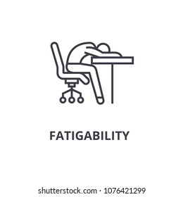 fatigability thin line icon, sign, symbol, illustation, linear concept, vector