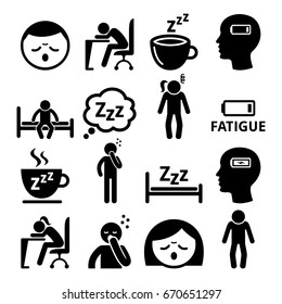 Fatigue icons, tired, sleepy man and woman vector design
