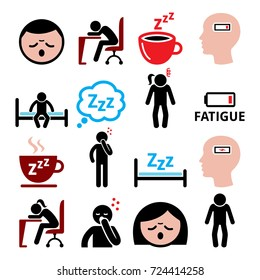 Fatigue vector icons set, tired, sressed or sleepy man and woman design \Run-down mand and woman, sick people icons set isolated on white