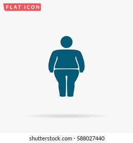 Fatso Icon Vector. Flat simple Blue pictogram on white background. Illustration symbol with shadow