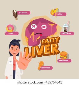 fatty liver character design with dangerous fastfood - vector illustration
