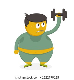 Fatty person with dumbbell exercise fitness