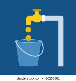 faucet with gold coins and bucket for saving water concept, flat design