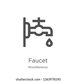 faucet icon. Element of miscellaneous collection for mobile concept and web apps icon. Outline, thin line faucet icon for website design and mobile, app development