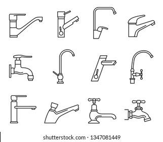Wasserhahn für Spüle, Wasserhahn für Spüle. Einrichtung zur Steuerung des Flüssigkeitsflusses. Vektorgrafik-Illustration einzeln auf weißem Hintergrund