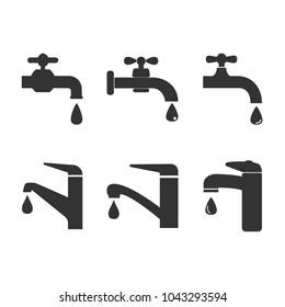 Faucet icon, water tap sign. Set faucet. Vector illustration. Flat design.