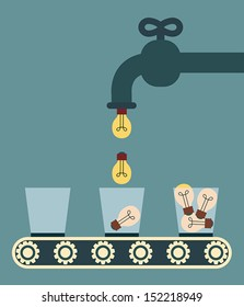 Faucet pouring the light bulb into glass, Illustration eps10