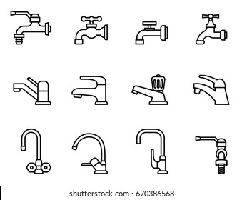 Faucet vector icon. Tap sign. Bathroom symbol. Line Style stock vector.