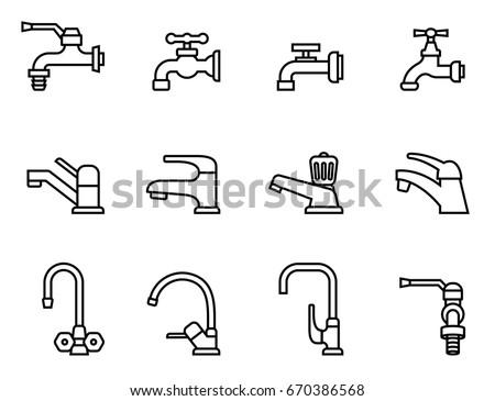 Faucet Vector Icon Tap Sign Bathroom StockVektorgrafik Lizenzfrei Adorable Bathroom Sign Vector Style