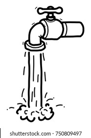 faucet and water / cartoon vector and illustration, black and white, hand drawn, sketch style, isolated on white background.