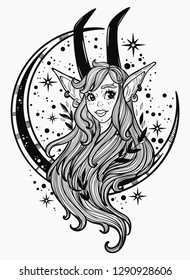 Faun girl on the background of the moon. Fantasy, spirituality, mythology, tattoo art, coloring books. Isolated vector illustration.