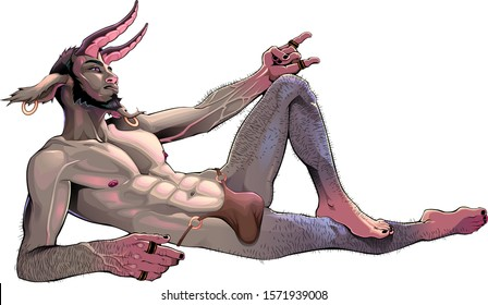 Faun lying down. Vector fantasy isolated character.
