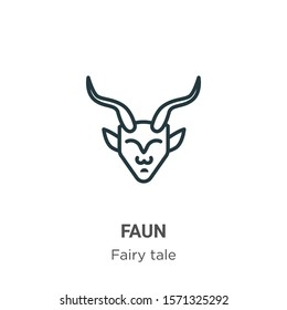 Faun outline vector icon. Thin line black faun icon, flat vector simple element illustration from editable fairy tale concept isolated on white background