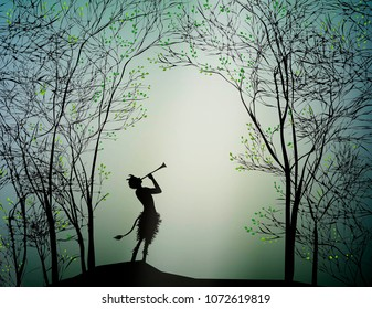 faun playing in the spring forest, vector