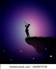 faun playing trumpet at the edge of the rock in the summer night, vector