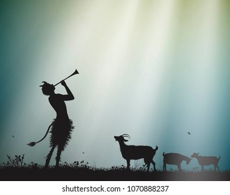 faun shepherd herds the goats in the morning sun rays, satyr, silhouette,