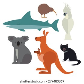 Fauna of Australia and New Zealand. Vector illustration of animal set including cockatoo, Tasmanian devil, kangaroo, shark, kiwi and koala.