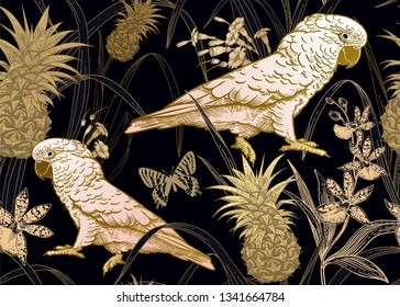 Fauna and flora of rainforest. Seamless vector background. Parrot, orchid flowers, butterfly and pineapple fruit. Vintage engraving. Vector illustration. Wildlife pattern. Gold foil, white and black.