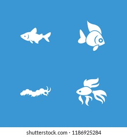 Fauna icon. collection of 4 fauna filled icons such as fish. editable fauna icons for web and mobile.