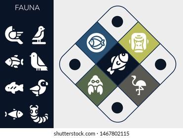fauna icon set. 13 filled fauna icons.  Simple modern icons about  - Fish, Caterpillar, Bird, Gorilla, Hermit crab, Flamingo